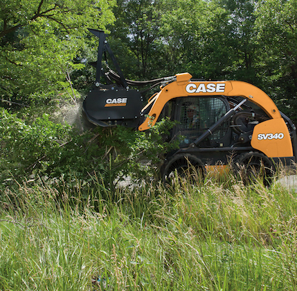 Case mulching head landclearing attachment